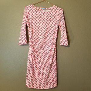 J. McLaughlin Red and White Patterned Dress